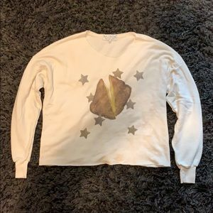 Off white colored sweatshirt with grilled cheese